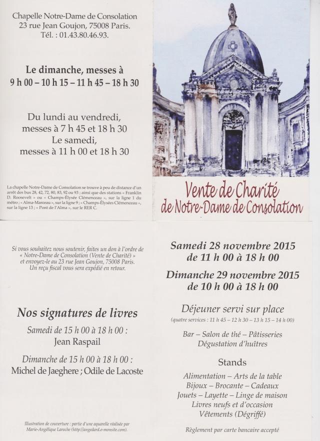 Vente de Charité à ND de Consolation S 28-Dim 29 novembre 2015 Paris 2