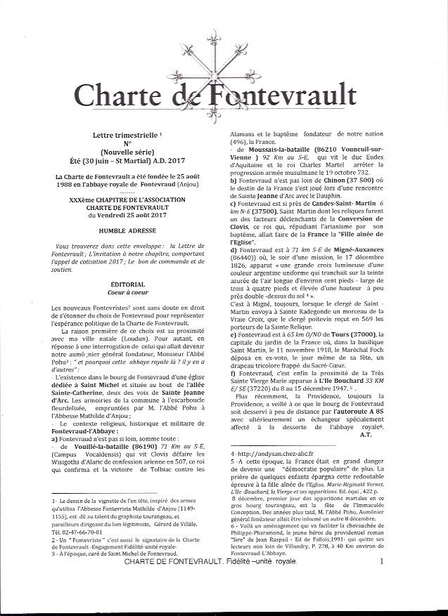 Lettre de Fontevrault invitant aux Rencontres du Vendredi 25 aoùt 2017