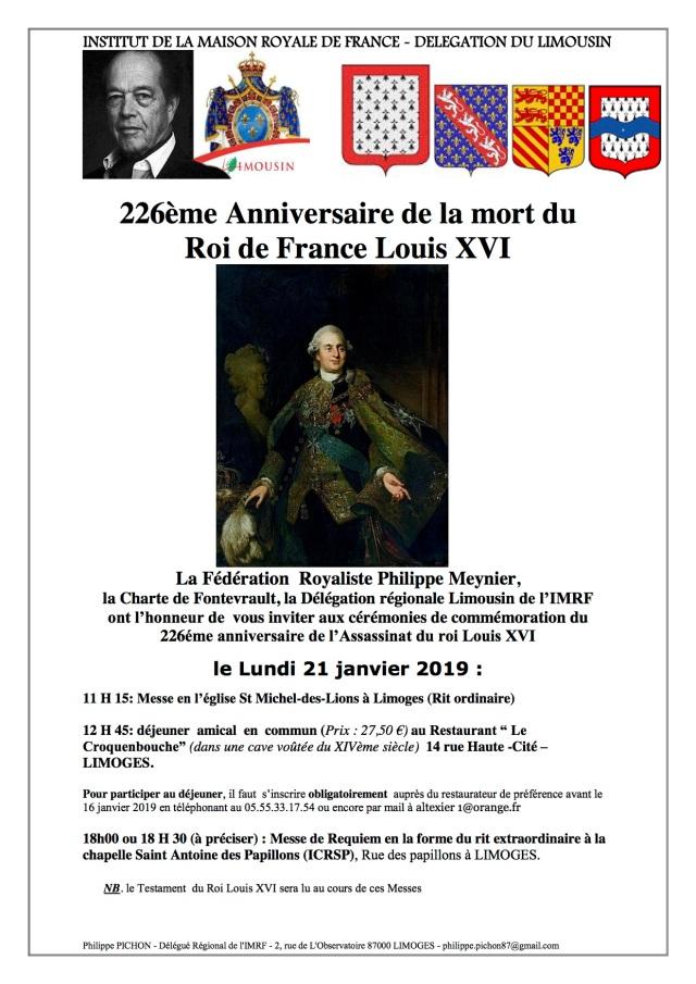 Louis XVI. 21 Janvier 2019. L'IMRF (Limousin) communique.