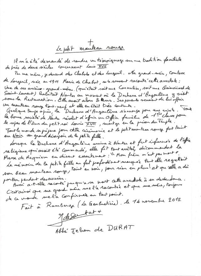témoignage manuscrit - petit manteau rouge